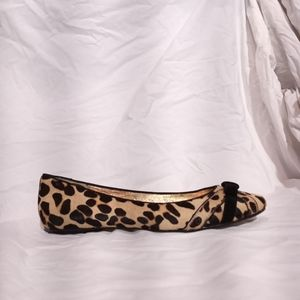 BEVERLY FELDMAN Leopard Print Pony Ballet Flats